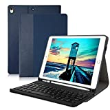 iPad 10.5 Keyboard Case Magnetically Detachable Wireless Bluetooth Keyboard - Premium iPad Keyboard Case with Pencil Holder for iPad Air 3rd Gen 10.5 inch 2019 iPad Pro 10.5 2017 - Blue