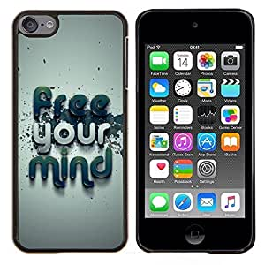 LECELL--Funda protectora / Cubierta / Piel For Apple iPod Touch 6 6th Touch6 -- Free Your Mind Tipografía --