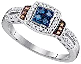 Size - 7.5 - Solid 10k White Gold Round Blue Chocolate Brown and White Diamond Engagement Ring OR Fashion Band Channel Set Square Shape Solitaire Shaped Halo Ring (1/4 cttw)