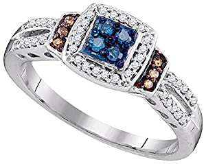 Size - 5.5 - Solid 10k White Gold Round Blue Chocolate Brown And White Diamond Engagement Ring OR Fashion Band Channel Set Square Shape Solitaire Shaped Halo Ring (1/4 cttw)