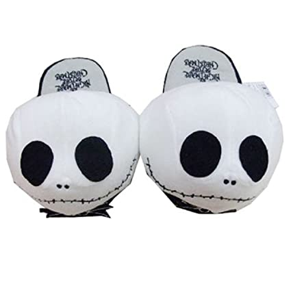 19bc99db6a3cb9 The Nightmare Before Christmas Jack Skellington Soft Warm Plush Slippers   Amazon.co.uk  Kitchen   Home