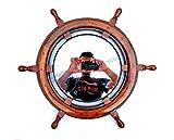 Natural Wood Ship Wheel With Plane Mirror   Maritime Home Decor Gift   Nagina International (24 Inches)