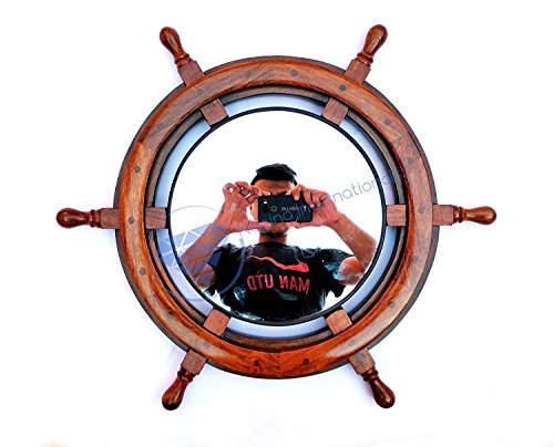 Nagina International Natural Wood Ship Wheel with Plane Mirror | Maritime Home Decor Gift (24 Inches)