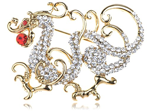 Alilang Golden Tone Clear Rhinestones Red Eye Chinese Dragon Brooch Pin (Dragon Lady Red Costume)