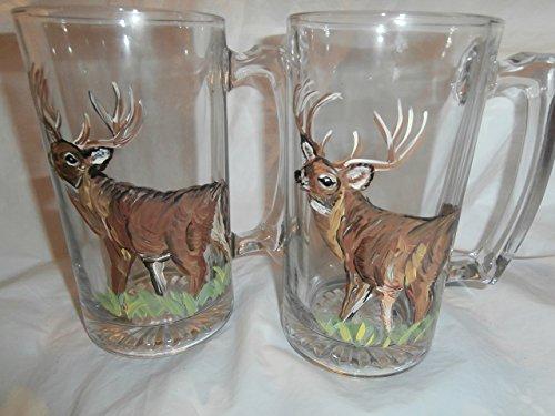Hand painted set 2 deer beer steins