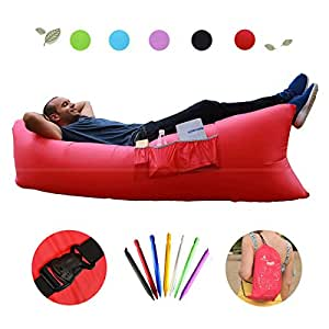 Inflatable Lounger by Hikenture Beach Lounge&Sofa Quickly Inflation - Air Sofa with Compact Package Lightweight 2.2lbs - Air Inflatable/Beach Chair for Camping, Beach, Music Festivals and Travelling (Red)