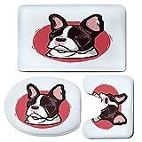 3 Piece Bath Mat Rug Set,Animal,Bathroom Non-Slip Floor Mat,Cute-French-Bulldog-Artistic-Portrait-Hipster-Purebred-Creature-Pet-Illustration-Decorative,Pedestal Rug + Lid Toilet Cover + Bath Mat,Pink-