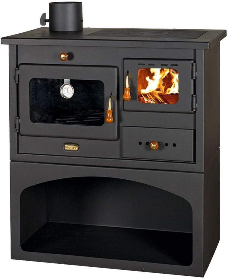Estufa de leña con salida de chimenea izquierda para combustible sólido. Potencia de calentamiento: 10 kW. Horno y 3 platos calientes de hierro fundido para cocinar.