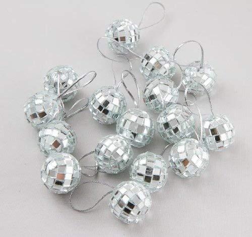 Klicnow 24 pcs 1.8 Inch Disco Ball Mirror Party Christmas Xmas Tree Ornament Decoration with Ellami Fastening -