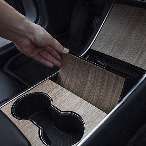 TAPTES Tesla Model 3 /& Model Y Center Console Wrap Vinyl Wood Grain Console Protector Sticker Car Interior Decoration Wrap Kit 2 Sets