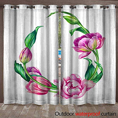 Outdoor Curtain Watercolor Botanical Illustration Pink Tulip Flowers Egg Shape Floral Frame on White Background Blank Banner Easter Greeting Card Poster Template Waterproof CurtainW120 x L96
