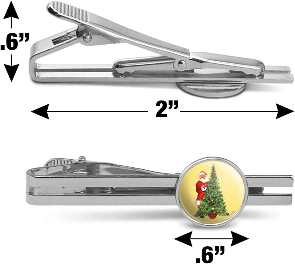 GRAPHICS /& MORE Christmas Holiday Santa Decorating Tree Round Tie Bar Clip Clasp Tack Silver Color Plated
