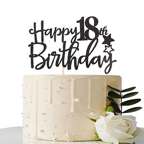 MaiCaiffe Black Glitter Happy 18th Birthday Cake Topper,Hello 18, Forever 18 Party Decoration (Cake Designs For 18 Year Old Boy)