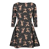 Mymixtrendz® Womens Christmas Pattern Lose Fit Retro Round Neck Long Sleeve Midi Dress Vintage Cocktail Party Swing Dress