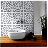 Tangier Tile Furniture Wall Floor Stencil for Painting - Medium