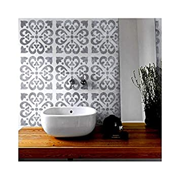 Tangier Tile Furniture Wall Floor Stencil for Painting - Small Dizzy Duck Designs