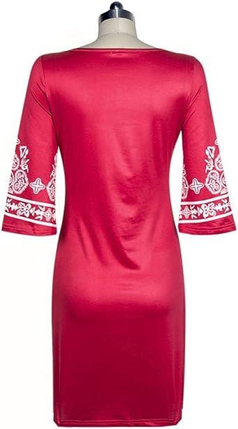 Qikoup damska sukienka z rękawami 3/4, seksowna sukienka w stylu vintage, wąska sukienka na kolana, długa sukienka na wiosnę: Odzież