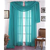 """LuxuryDiscounts Beautiful Elegant Solid Turquoise Sheer Scarf Valance Topper 40"""" X 216"""" Long Window Treatment Scarves"""