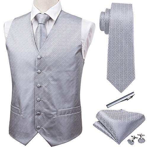 Barry.Wang Designer Waiscoat Vest for Men Necktie Hanky Cufflink Wedding Business Formal Dress Tuxedo Silver Grey