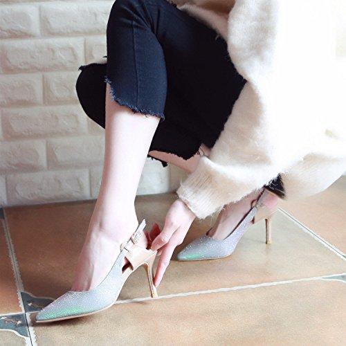 Xue Qiqi Tribunal Zapatos Zapatos de Mujer Marea Punto de Amarre ranurada Liviano, Delgado Zapatos con Tacones Altos, no Solo Zapatos Silver