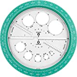Helix Angle and Circle Maker with Integrated Circle Templates, 360 Degree, 6 Inch / 15cm, Assorted Colors