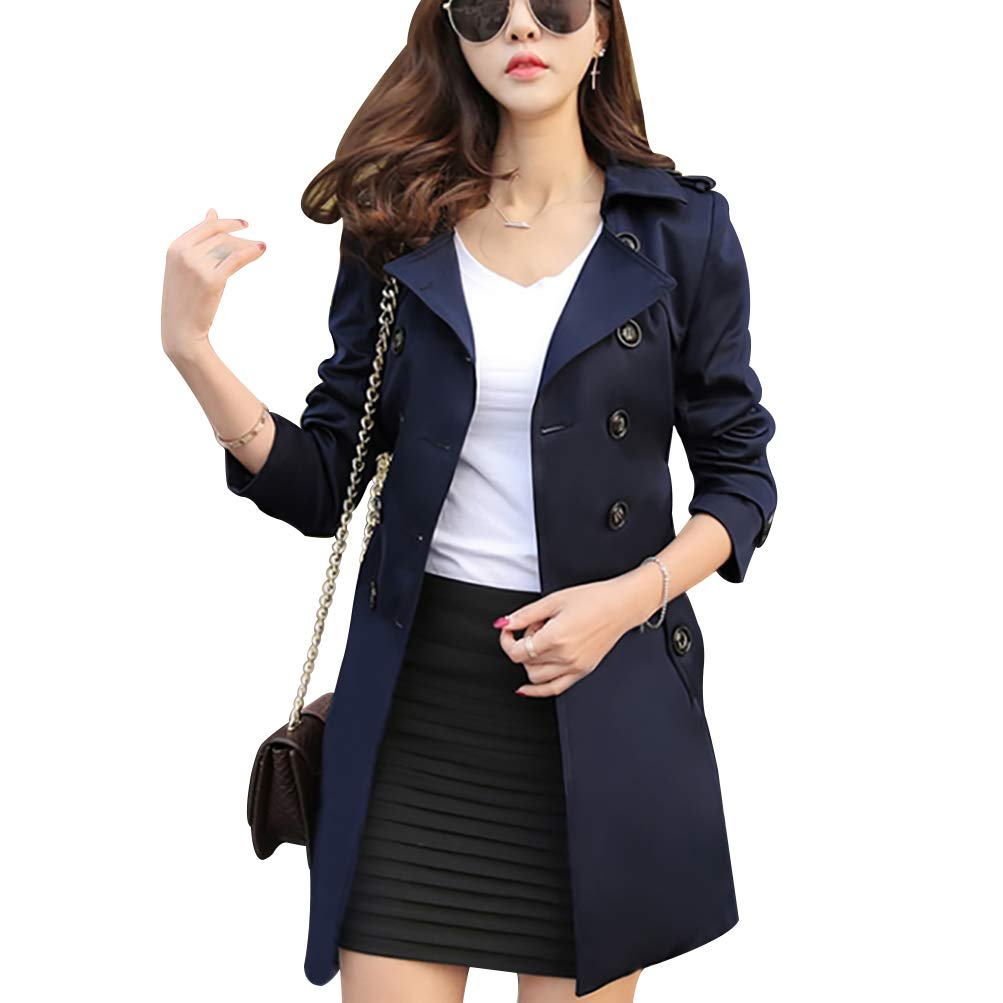 Women Slim Fit Lapel Mid-Length Trench Coat Jacket Double Breasted Outwear with Belt S-5XL Navy Blue by Osemy