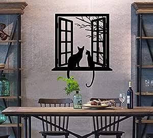 1 X Black Cat Design Picture Art Peel & Stick Wall Sticker DIY Vinyl Wall Decal Applique