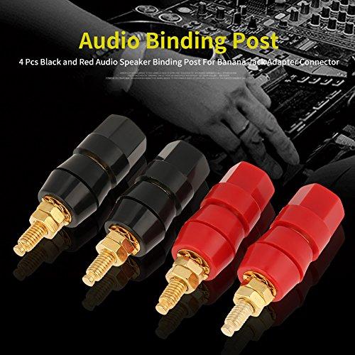 para altavoces conector de audio hembra tornillo abierto cine en casa YFOX cable est/éreo Conector de banana para altavoz chapado en oro 4 rojos, 4 negros conector de banana de metal