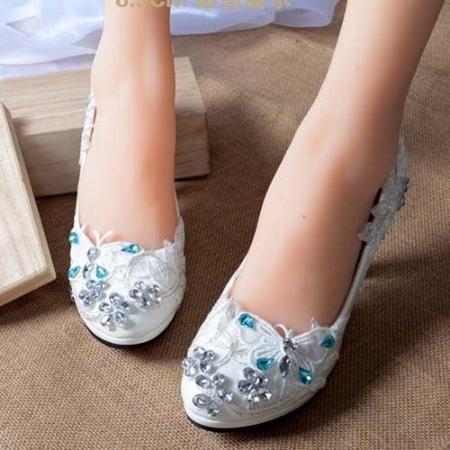 Blanc JINGXINSTORE Chaussure de mariée de mariage blanc papillon à talons hauts Mary Evening Lace UK7