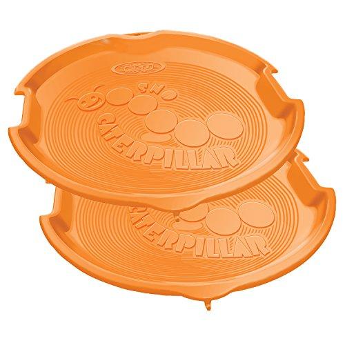 Emsco Group ESP 1055-2 Snow Caterpillar Linkable Disc Sled, 26 Inch 2 Pack, Orange (Thin Sled Plastic)