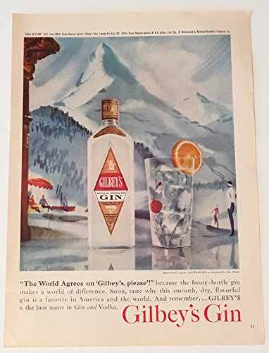 1960 Gilbey's Gin Magazine Print Advertisement