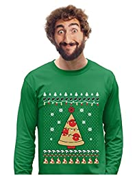 Pizza Ugly Christmas Sweater Funny Xmas Pizza Tree Long Sleeve T-Shirt