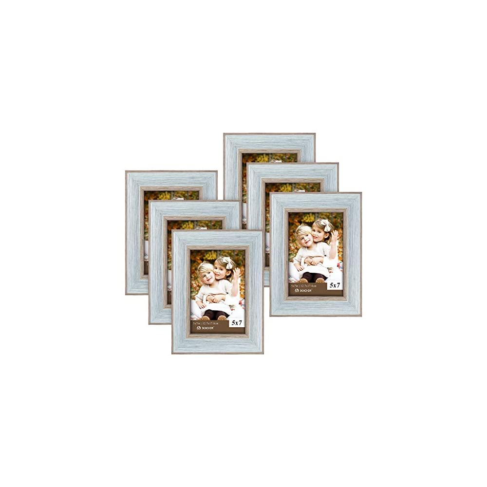 BOICHEN Picture Frames 5x7 Blue (Set of 6 Pack) - Rustic Farmhouse Wooden Photo Frame with Glass Cover - Ready to Hang…