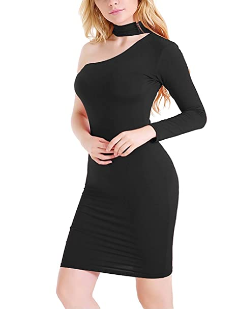 cb187a96b7d2 Image Unavailable. Image not available for. Color  BMTH Women s Halter One Shoulder  Off Dress Bodycon Zipper Long Sleeve Cocktail Club Mini Dress Black