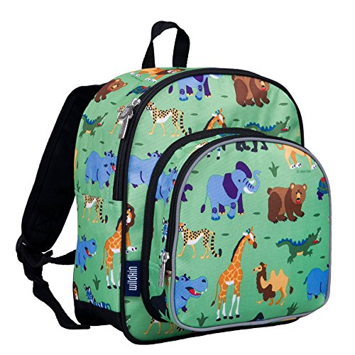 Wildkin 12 Inch Backpack, Includes Insulated, Food-Safe Front Pocket and Side Mesh Water Bottle Pocket, Perfect for Preschool, Daycare, and Day Trips, Olive Kids Design – Wild Animals
