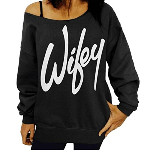 Lymanchi Women Sexy Off the Shoulder Slouchy Pullover Sweatshirt Shirt Top Black M (2)