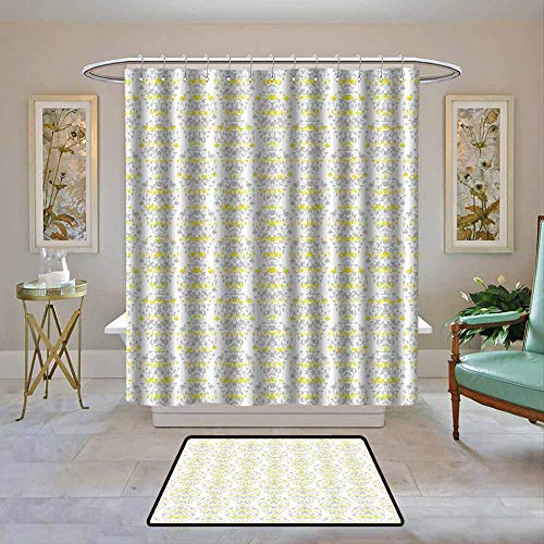Kenneth Camilla01 Waterproof Shower Curtain Grey and Yellow,Victorian Style Flowers Leaves Swirls Ombre Design Art Image,Light Grey and Marigold,Bathroom Curtains for Shower with Hooks Set 55