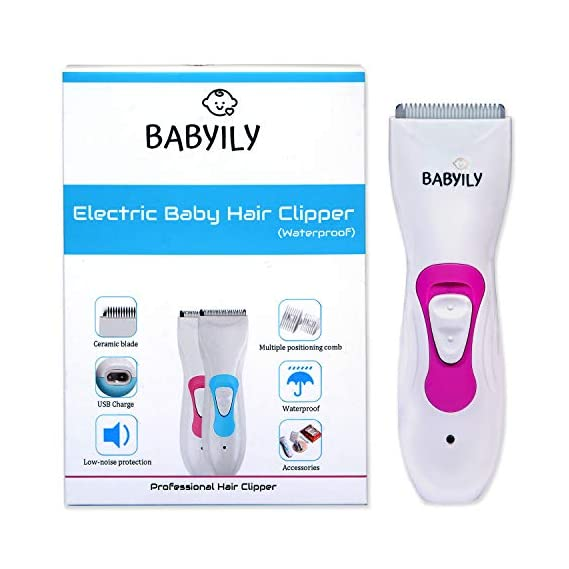 Babyily Rechargeable Baby Hair Clipper/Baby Hair Trimmer (Pink)