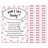 Don't Say Baby Game for Girls Baby Shower Clothespin Game Includes One 5x7 Sign and 48 Mini Pink Clothespins