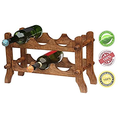 Flash Sale Wine Accessories - 6 Wine Bottle Storage Rack Free Standing - Bar Accessories - 100% Wooden Countertop Wine Holder 19.6  Modern Design for Easy to Carry Table