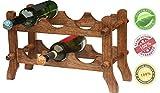 SouvNear 6 Wine Bottle Storage Rack Free Standing-Wooden Countertop Wine Holder-19.6 6 Wine Bottle Storage Rack Free Standing-Wooden Countertop Wine Holder-19.6, Natural For Sale