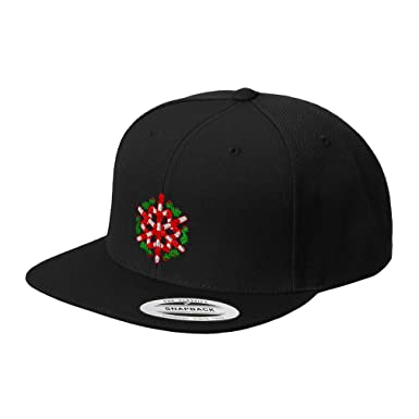 8206db15fcced8 Snapback Baseball Hat Snowflake Candy Cane Embroidery Wishes Acrylic Cap  Snaps - Black, Design Only