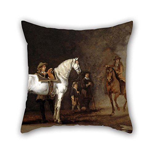 (Pillow Shams 16 X 16 Inches / 40 By 40 Cm(each Side) Nice Choice For Dance Room Him Kids Girls Study Room Kids Car Oil Painting Van Calraet, Abraham - White Horse In A Riding School for Christmas)