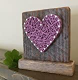 Sweet & small freestanding wooden lavender string art heart sign. Perfect for Mother's Day, home accents, Wedding favors, Anniversary gifts, nursery decoration and just because gifts by Nail it Art.
