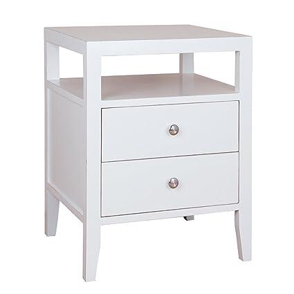 Superbe Porthos Home Hana 2 Drawer Lacquer End Table, White
