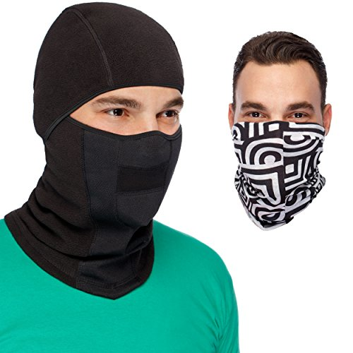 Womens Supreme Element Costumes (MaxPro Balaclava Ski Mask + Versatile Sports/Casual Headband Premium Bundle. Black Balaclava Ski Mask + Magic Scarf/ Winter Face Mask,Large/X-Large)