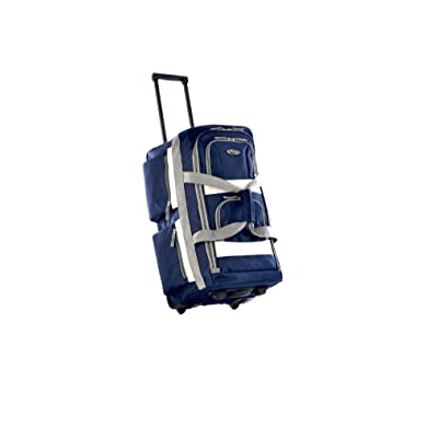 Stylish Sport Rolling Duffel Bag, Carry On Roller Luggage, Upright Navy Duffle