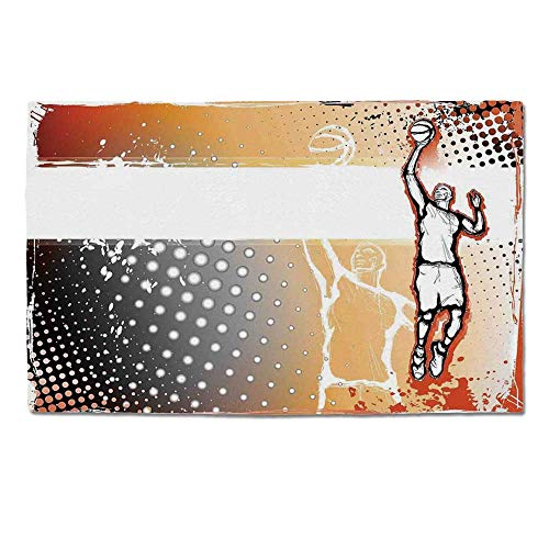 YOLIYANA Sports Decor Durable Door Mat,Basketball Player in The Middle of Game Illustration Dotted Background Doodle Style Art for Home Office,One Size