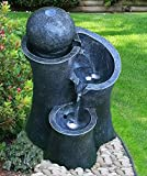GEEZY Garden Water Feature LED Fountain Indoor/Outdoor Cascading Freestanding Polyresin Garden Statue Lights & Water Decoration (Ball Fountain)
