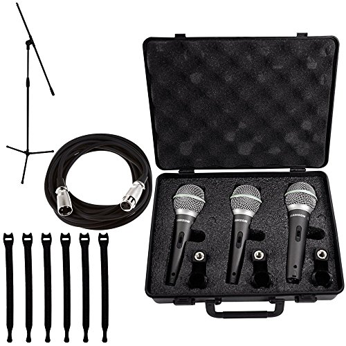 (Samson Q6 Dynamic Supercardioid Handheld Mic (3-pack) + Tripod Base Mic stand + Mic Cable + Strapeez)